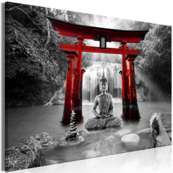 Tablou - Buddha Smile (1 Part) Wide Red