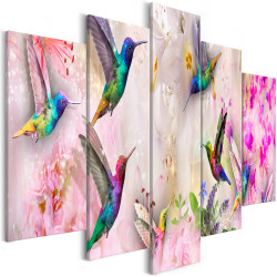 Tablou - Colourful Hummingbirds (5 Parts) Wide Pink