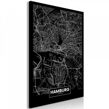 Tablou - Dark Map of Hamburg (1 Part) Vertical
