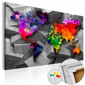 Tablou din plută - Cubic World [Cork Map]