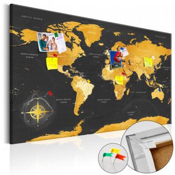Tablou din plută - Golden World [Cork Map]