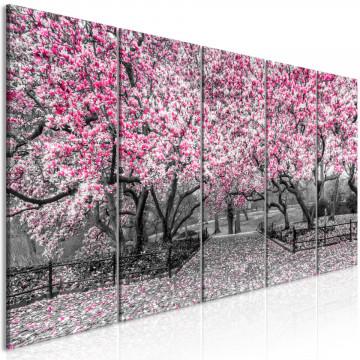 Tablou - Magnolia Park (5 Parts) Narrow Pink