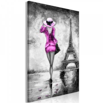 Tablou - Parisian Woman (1 Part) Vertical Pink