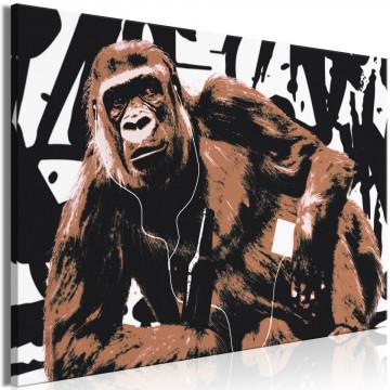 Tablou - Pop Art Monkey (1 Part) Narrow Brown