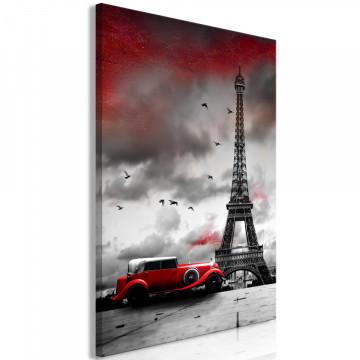 Tablou - Red Car in Paris (1 Part) Vertical