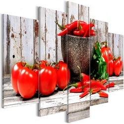 Tablou - Red Vegetables (5 Parts) Wood Wide