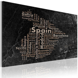 Tablou - Text map of Spain on the blackboard