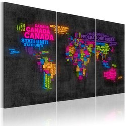 Tablou - The map of the World - Italian names of countries - triptych