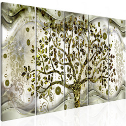 Tablou - Tree and Waves (5 Parts) Green