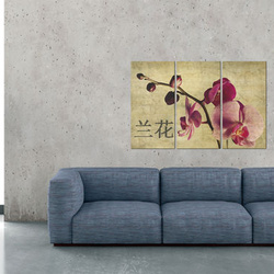 Tablou - Triptych, Orient and orchid