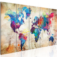 Tablou - World Map: Colourful Ink Blots