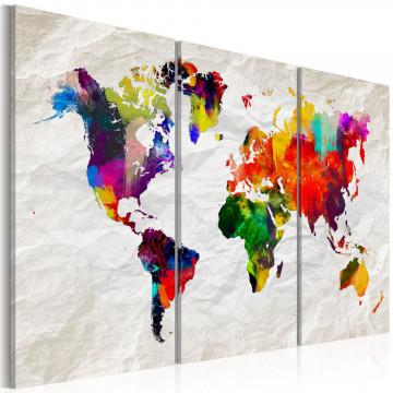 Tablou - World Map: Rainbow Madness II