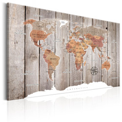 Tablou - World Map: Wooden Stories