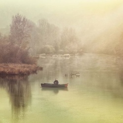 The Lonely Fisherman Photo Wallpaper Mural
