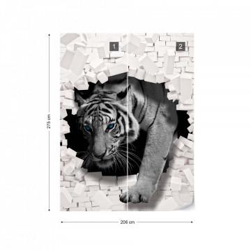 Tiger 3D Hole In Brick Wall Photo Wallpaper Wall Mural