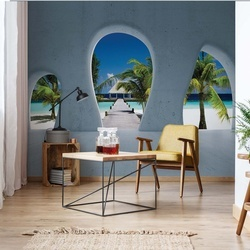 Tropical Beach 3D Concrete Arches View Photo Wallpaper Wall Mural
