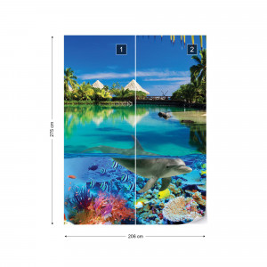 Tropical Island Paradise Dolphins Coral Reef Photo Wallpaper Wall Mural