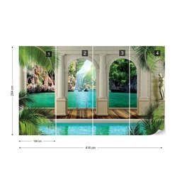 Tropical Lagoon 3D Archway View Photo Wallpaper Wall Mural