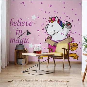 "Unicorn ""Believe In Magic"" Photo Wallpaper Wall Mural"