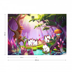 Unicorns In The Forest Photo Wallpaper Wall Mural