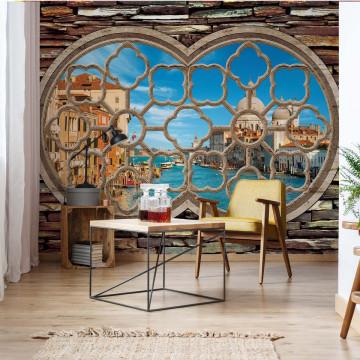 Venice Canal Ornamental Window View Photo Wallpaper Wall Mural