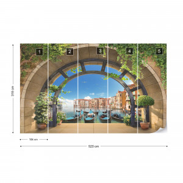 Venice Gondolas Archway View Photo Wallpaper Wall Mural