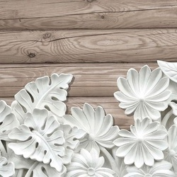 Vintage Chic 3D Carved White Flowers Wood Plank Texture Photo Wallpaper Wall Mural