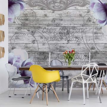 Vintage Design Flowers Wood Planks Photo Wallpaper Wall Mural