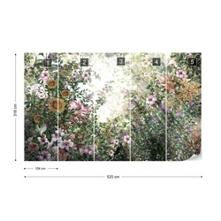 Vintage Floral Painting Photo Wallpaper Wall Mural