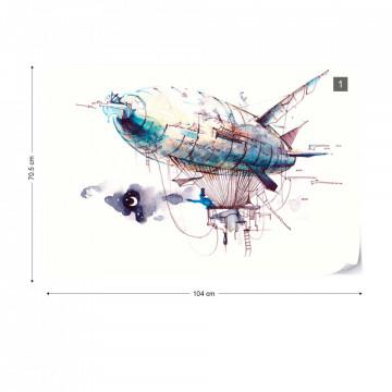 Watercolour Airship Photo Wallpaper Wall Mural