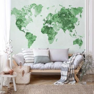 Watercolour World Map Light Green