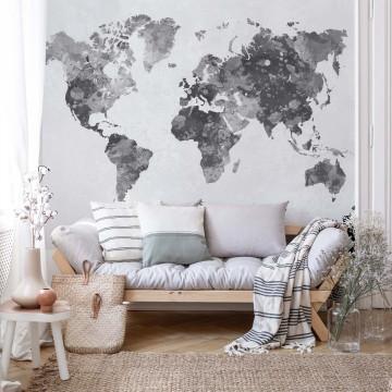 Watercolour World Map Monochrome