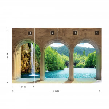 Waterfall Lake View Through Stone Arches Photo Wallpaper Wall Mural