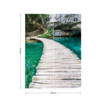 Wooden Bridge Lake Nature Photo Wallpaper Wall Mural