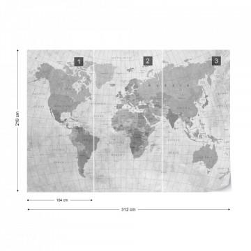 World Map Textured Monochrome