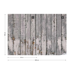 Worn Rustic Wood Plank Texture Photo Wallpaper Wall Mural