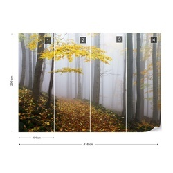 Yellow Leaves In The Forest Photo Wallpaper Mural