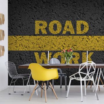 Yellow Road Markings Grunge Photo Wallpaper Wall Mural