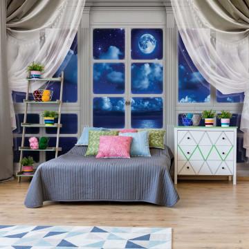 3D Door View Dreamy Night Sky Photo Wallpaper Wall Mural