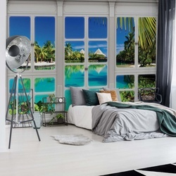 3D Door View Tropical Lagoon Photo Wallpaper Wall Mural