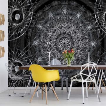 3D Dreamcatcher Design Black And White Photo Wallpaper Wall Mural