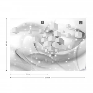 3D Grey And White Cubes Sparkles Photo Wallpaper Wall Mural