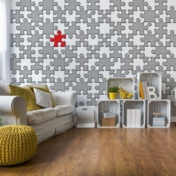 3D Jigsaw Puzzle Grey And Red Photo Wallpaper Wall Mural