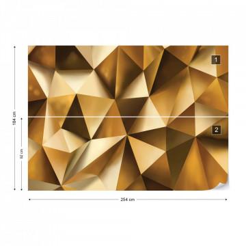 3D Polygon Texture Gold Photo Wallpaper Wall Mural