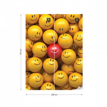 3D Smily Faces Photo Wallpaper Wall Mural