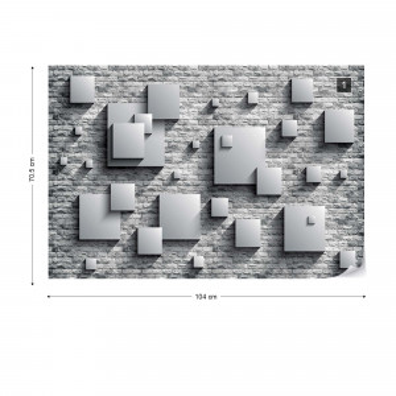 3D Squares Stone Wall Grey Photo Wallpaper Wall Mural