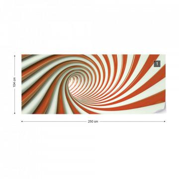 3D Swirl Tunnel Orange And White Photo Wallpaper Wall Mural