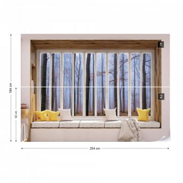 3D Window View Misty Forest Photo Wallpaper Wall Mural