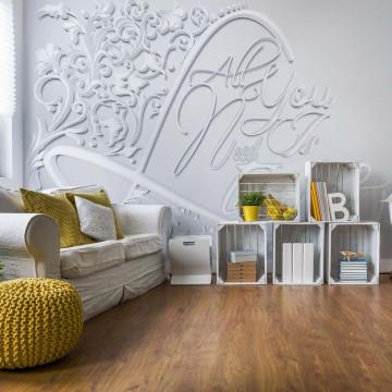 3D Words Love Grey Photo Wallpaper Wall Mural
