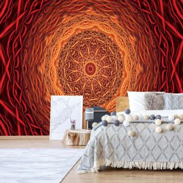 Abstract Mandala Design Orange Red Photo Wallpaper Wall Mural